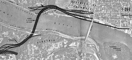 Map of proposed Three Sisters Bridge to connect Virginia and Washington D.C. via I-266 (Photo source: wwwtripwithinthebeltway.blogspot.com)