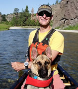 Mike Fiebig and his dog, Dearborn River, Montana | American Rivers