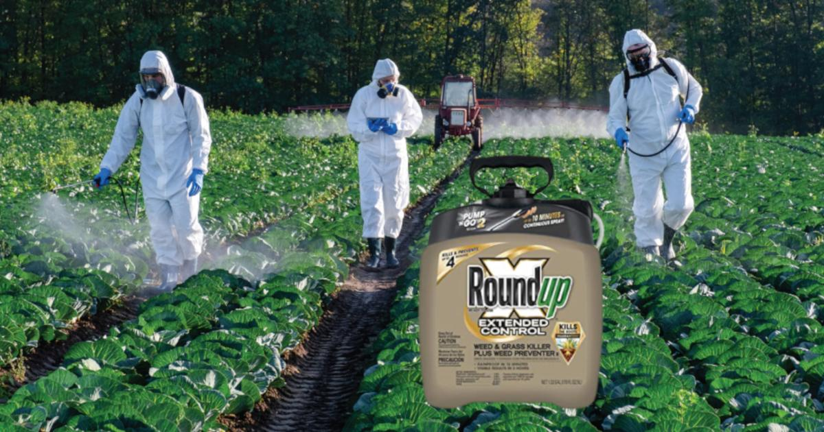 people in hazmat suits in a farm field spraying roundup herbicides