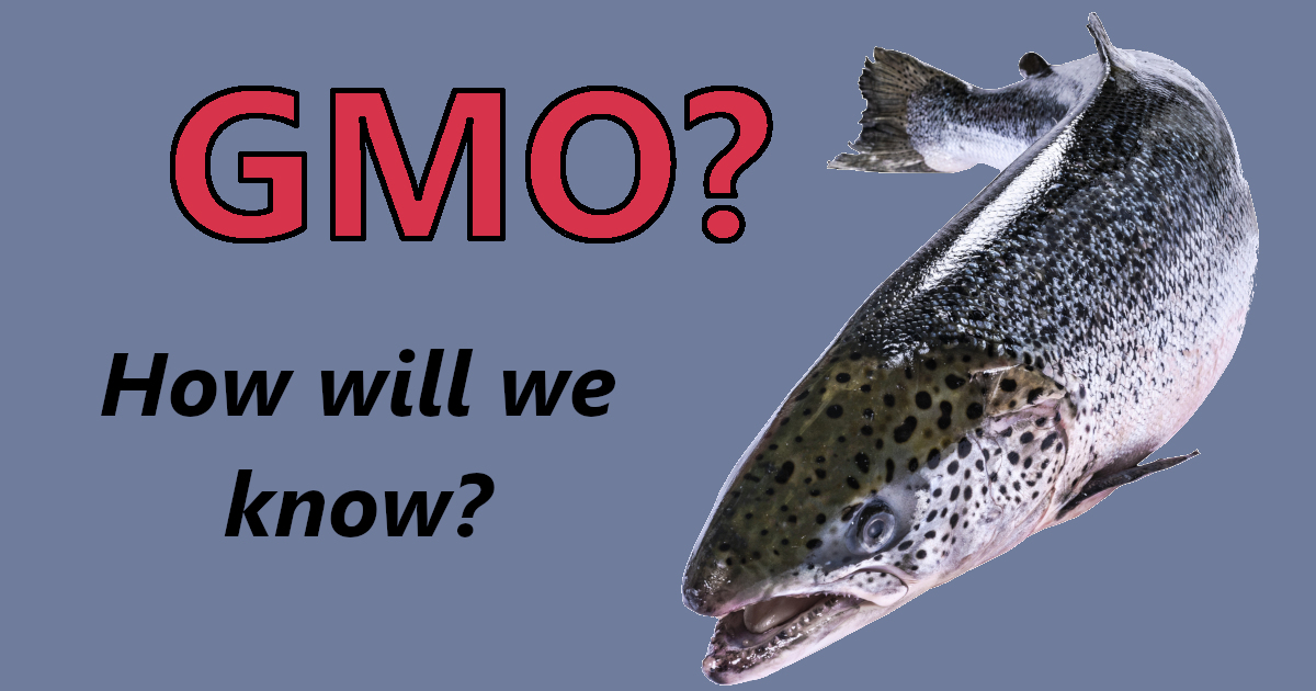 salmon fish with text GMO HOW WILL WE KNOW