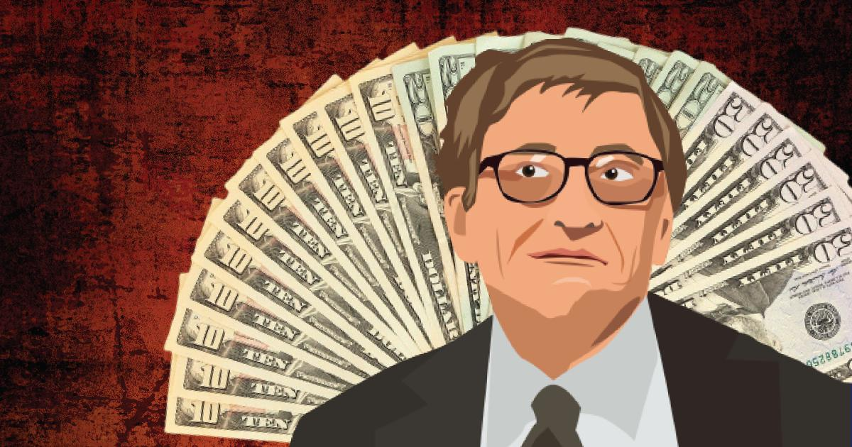 illustration of Bill Gates surrounded by dollar bills
