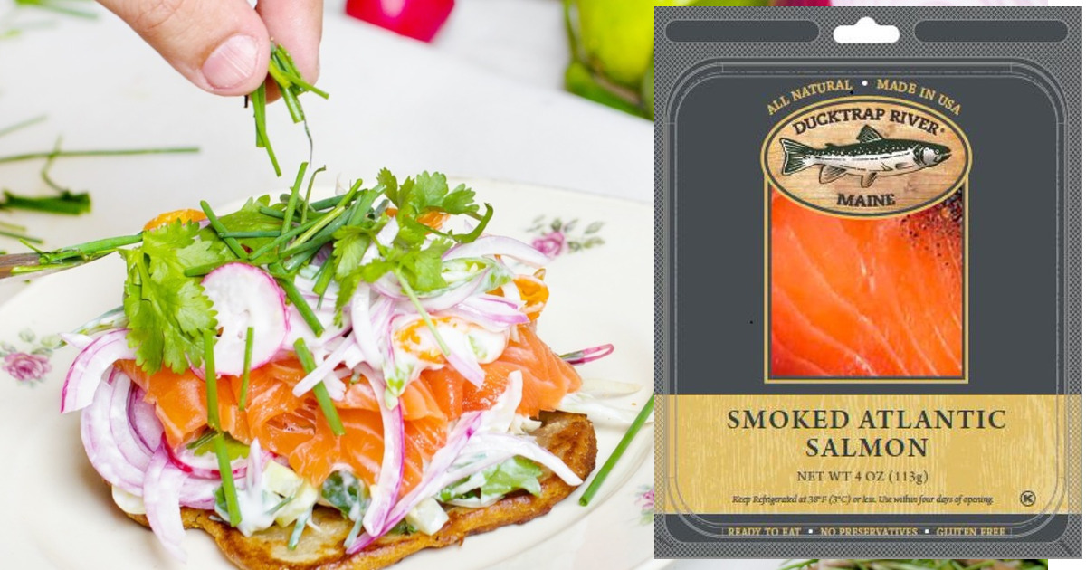 salmon appetizer with a package of Ducktrap River of Maine smoke salmon