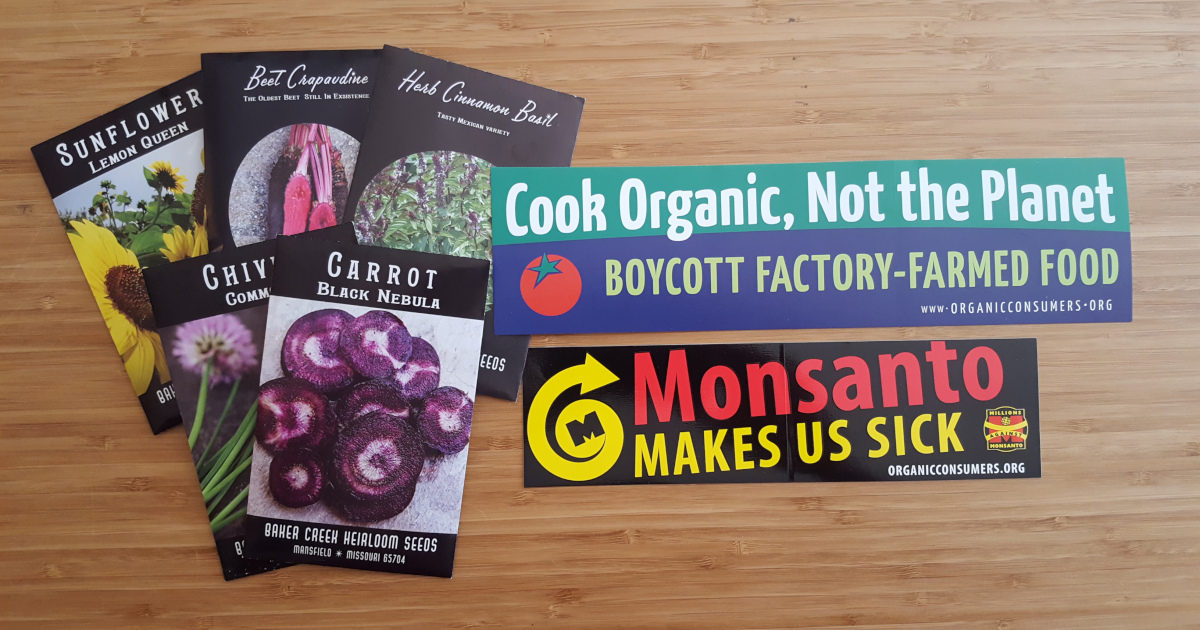 seed packets and bumper stickers