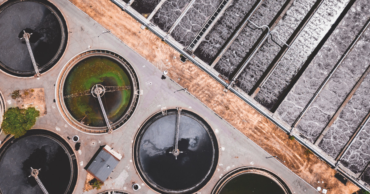 aerial view of sewage treatment plant pools