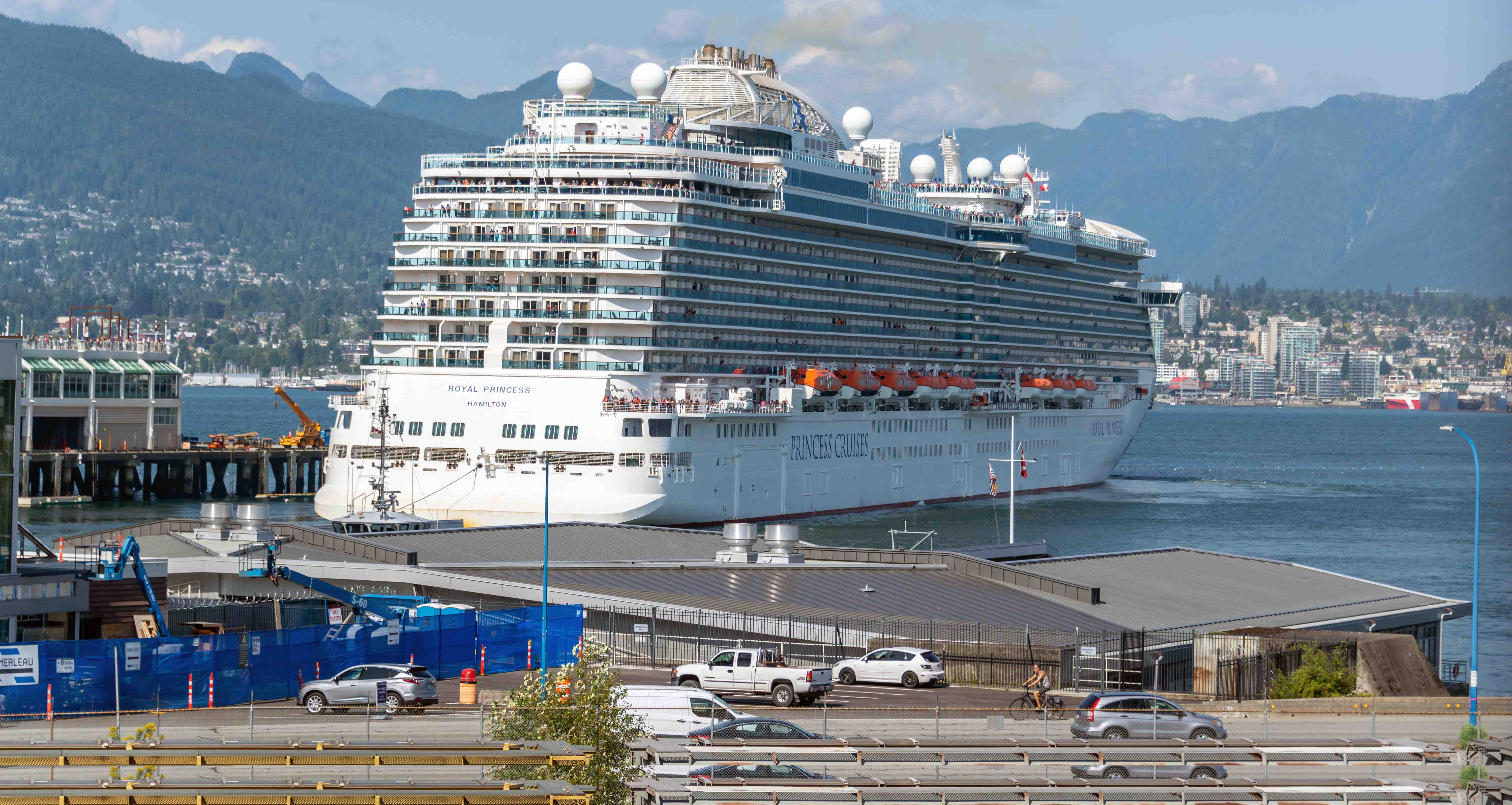 Cruise ship docked in vancouver port