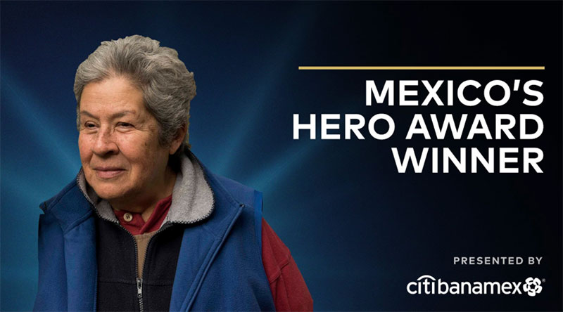 a photo a woman, words Mexicos Hero Award Winner